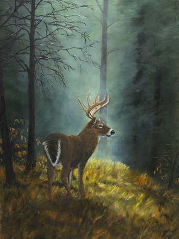 Peaceful Moment - Wildlife Painting by Johanna Lerwick, artist from Norwich, New York