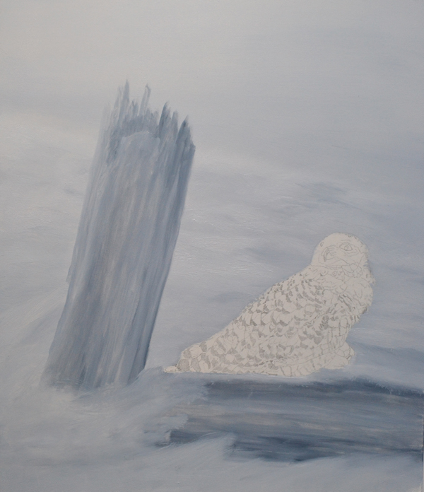 Painting in progress of Solitude - Snowy Owl by Johanna Lerwick Wildlife/Nature Artist