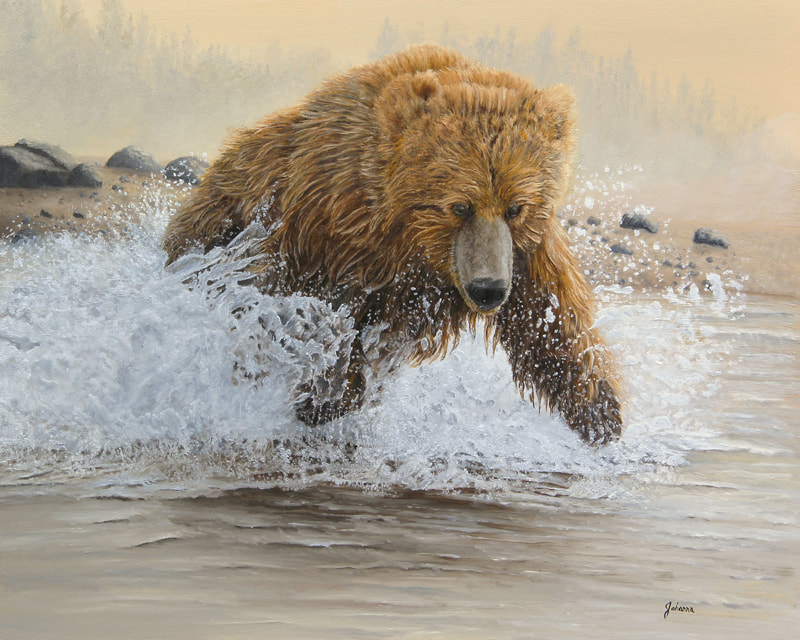 Original oil painting of a grizzly bear splashing in water.