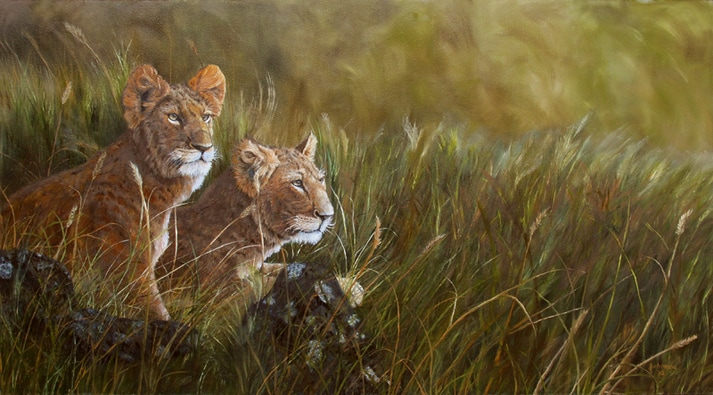 Painting of lion cubs anticipating mom's return.
