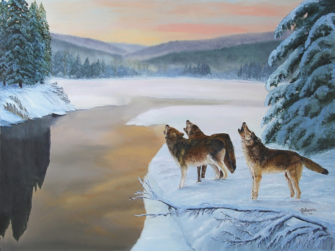 Fine art print of wolves howling.