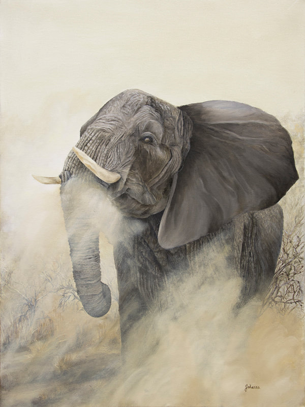 Original painting of a charging bull elephant.