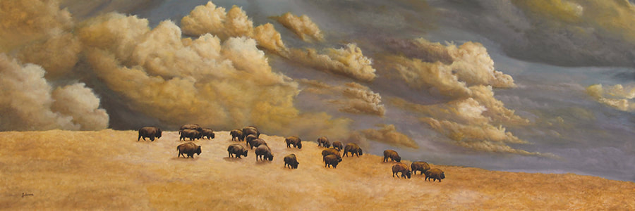 Original oil painting of a herd of bison on the horizon by Johanna Lerwick