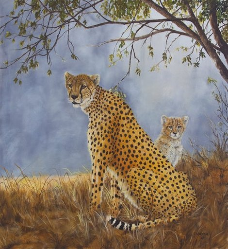 Cheetah With Cub Giclee fine art print.