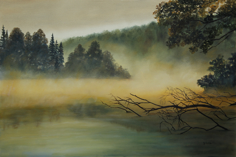 Original painting of a lake at sunrise with fog lifting.